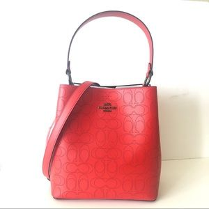 Coach Town Bucket Bag Signature Red Purse